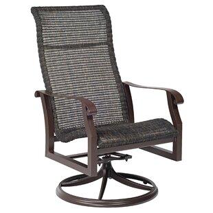 Woodard Cortland Woven High Back Swivel Rocking Patio Dining Chair (Set of 2)