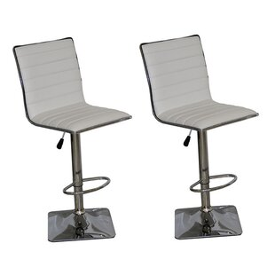 Claudette Adjustable Height Swivel Bar Stool (Set of 2)