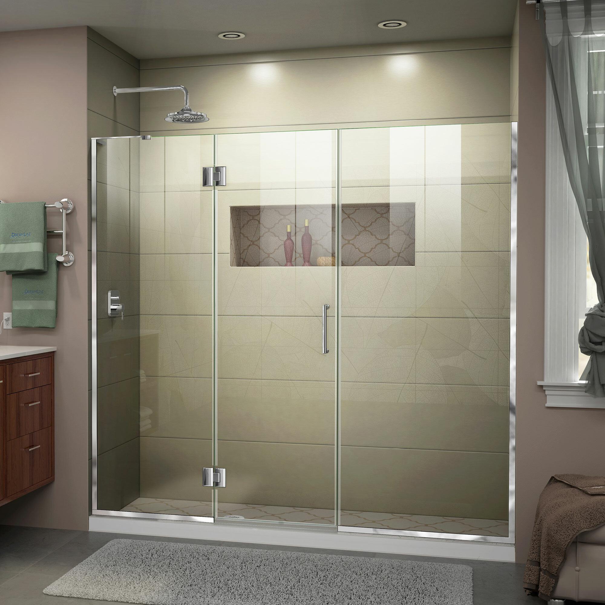 Unidoor X 66 X 72 Hinged Frameless Shower Door With Clearmax Technology