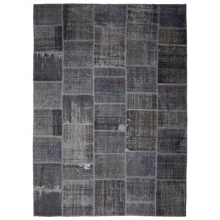 Find One-of-a-Kind Corrie Overdyed Patchwork Hand-Knotted Wool Gray/Black Area Rug By Isabelline