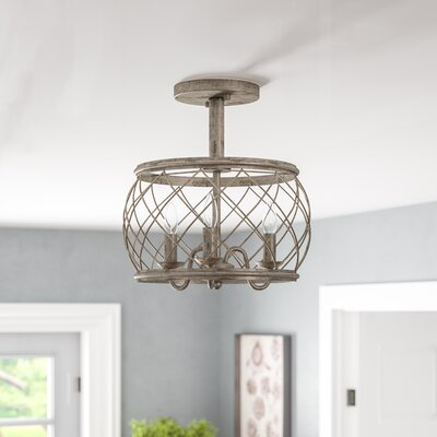 "Lark Manor Mina Cottage 3-Light Semi Flush Mount Finish: Silver, Size: 14.5""H x 15""W x 15""D"