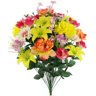 36 Stems Faux Full Blooming Lily, Peony, Zinnia and Mum Flower Mixed Floral Arrangement