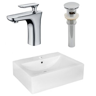 Ceramic 16 Wall Mount Bathroom Sink with Faucet and Overflow ByAmerican Imaginations