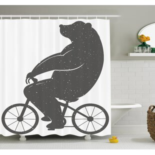 Bear on a Bike Cute Humor Parody Stylized Modern Funny Cycling Hipster Artwork Shower Curtain Set