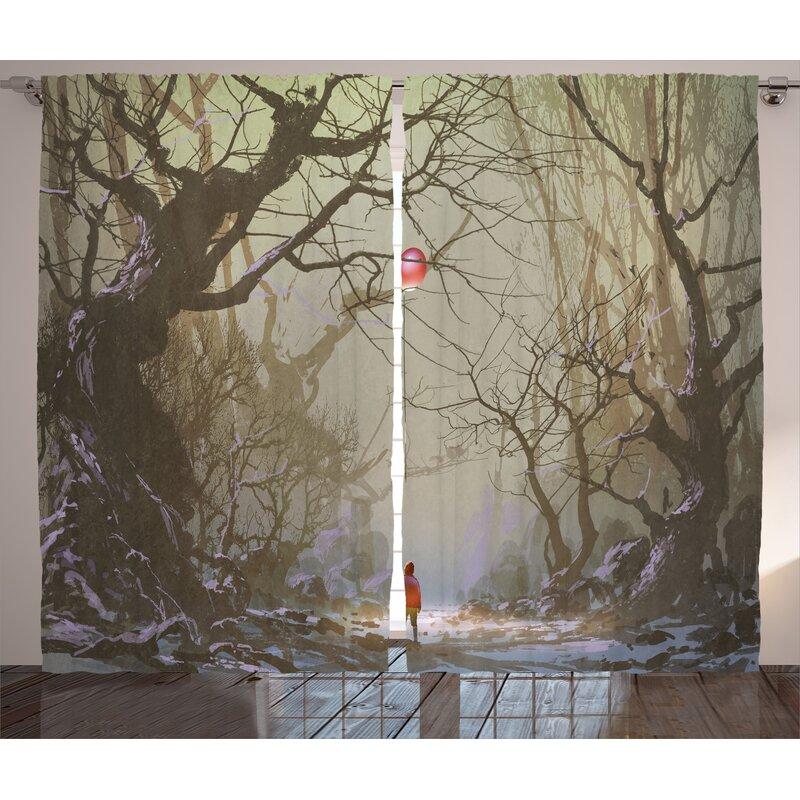 East Urban Home Boy With Red Balloon Decor Graphic Print Room Darkening Rod Pocket Curtain Panels Wayfair