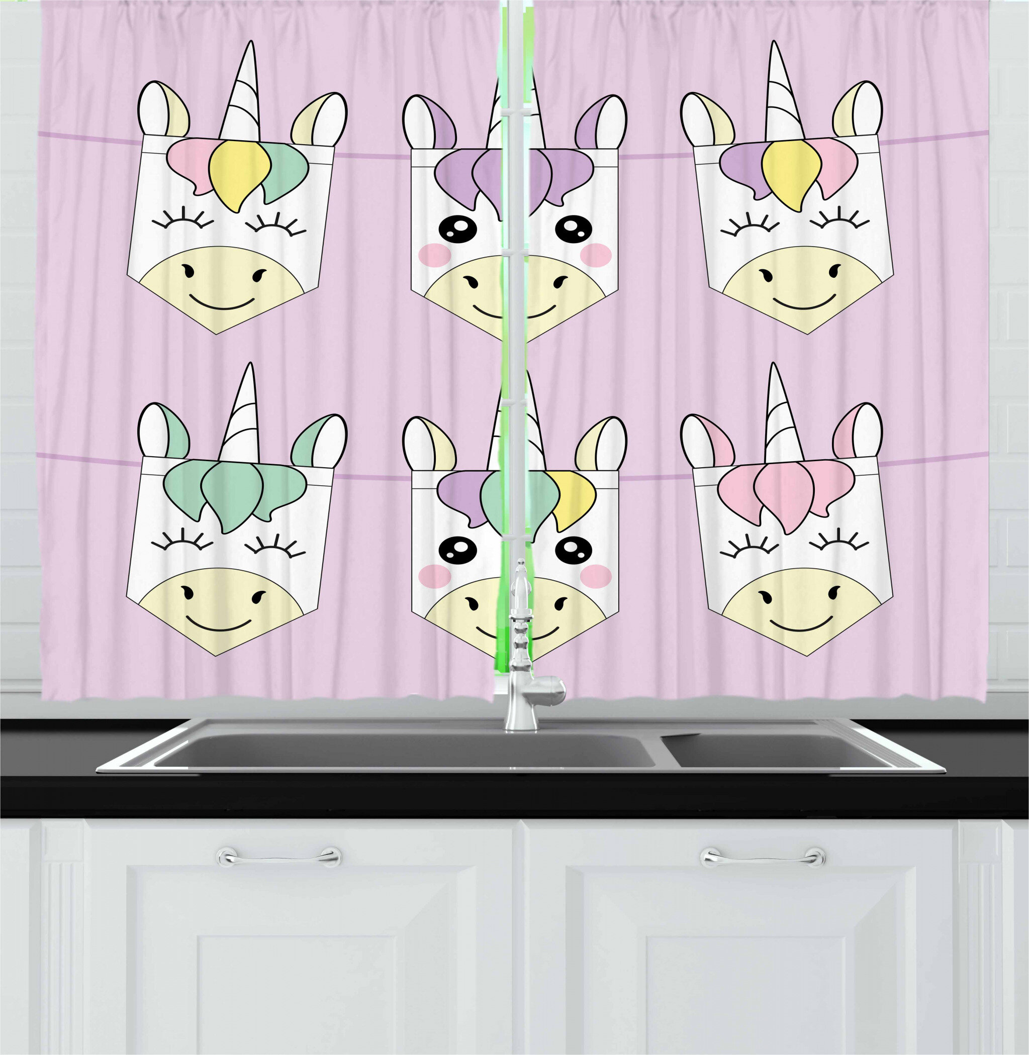 East Urban Home Unicorn 2 Piece Kitchen Curtain Set Wayfair