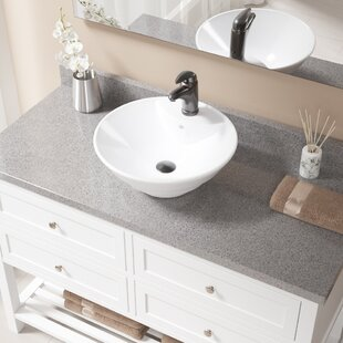 Great choice Vitreous China Circular Vessel Bathroom Sink with Faucet and Overflow ByMR Direct