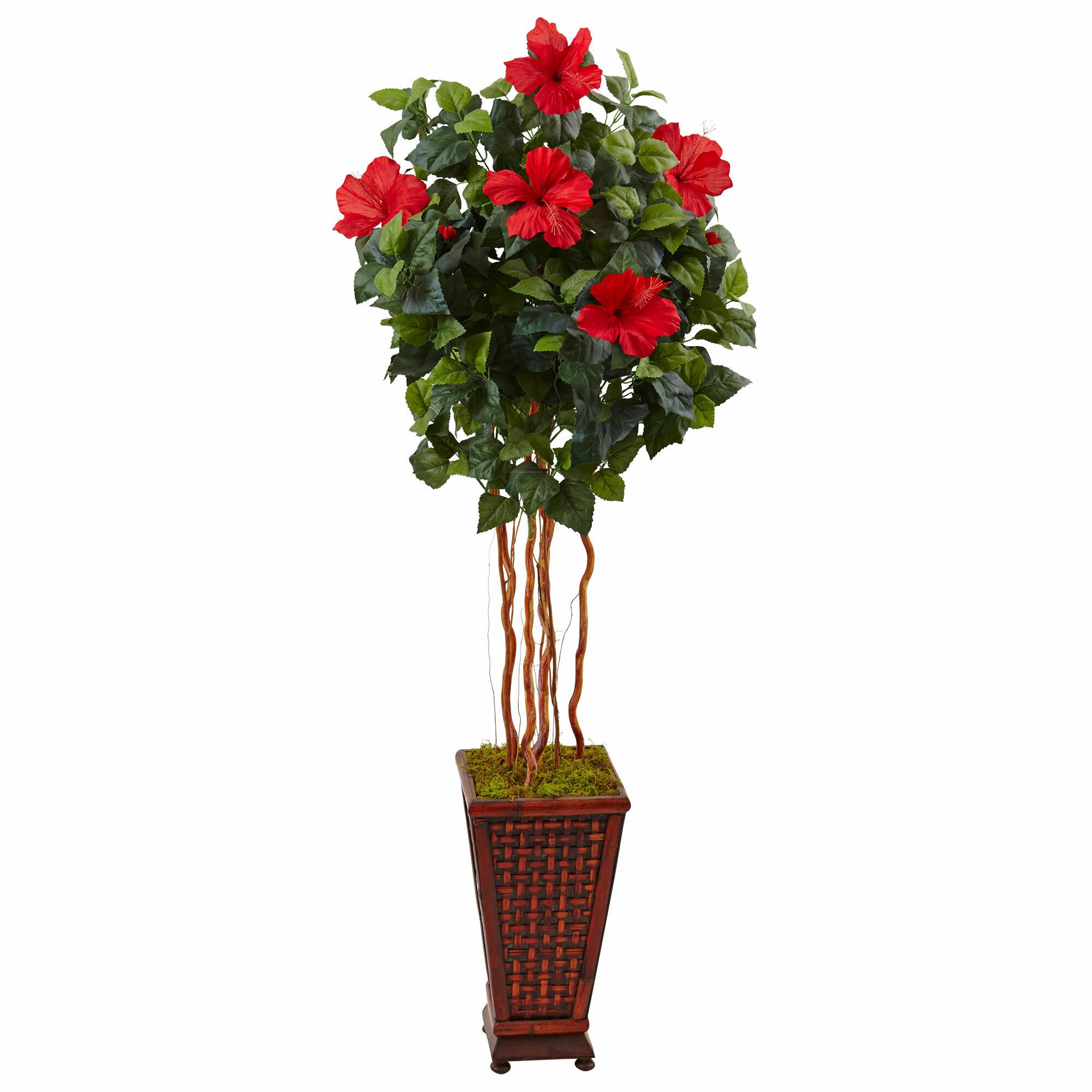 Bayou Breeze Artificial Hibiscus Floor Flowering Plant In Planter