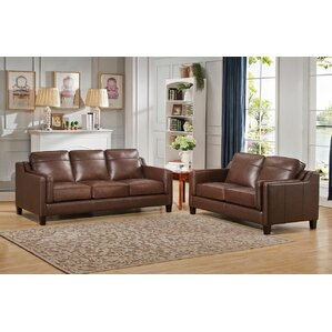 Katherine Leather 2 Piece Living Room Set by Red Barrel Studio
