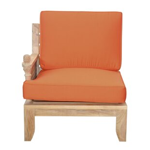 Luxe Teak Right Arm Patio Chair with Sunbrella Cushions