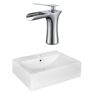 Ceramic 16 Wall Mount Bathroom Sink with Faucet and Overflow American Imaginations