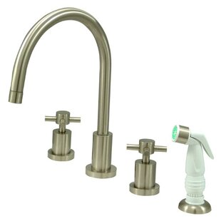 Kingston Brass Concord Double Handle Widespread Kitchen Faucet with Non-Metallic Spray
