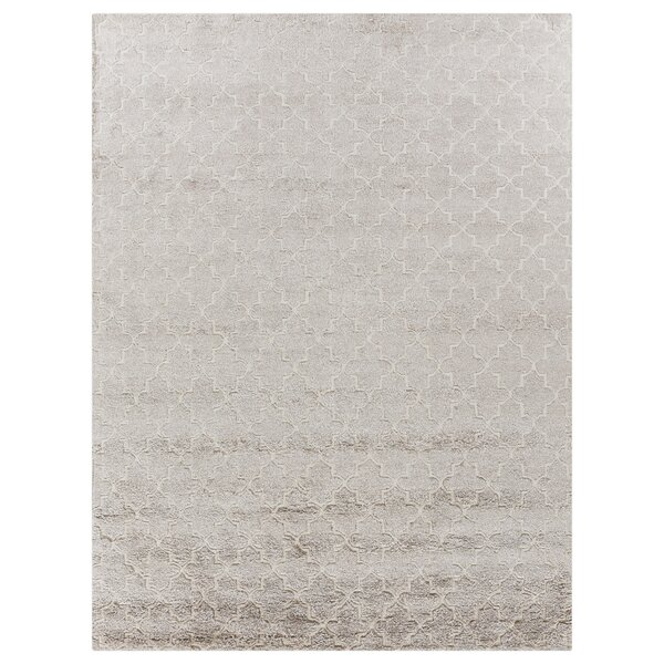 Exquisite Rugs Geometric Hand Knotted Silk Beige Area Rug Wayfair