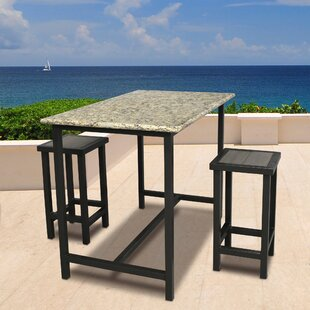 Latitude Run Weatherby 3 Piece Bar Height Dining Set