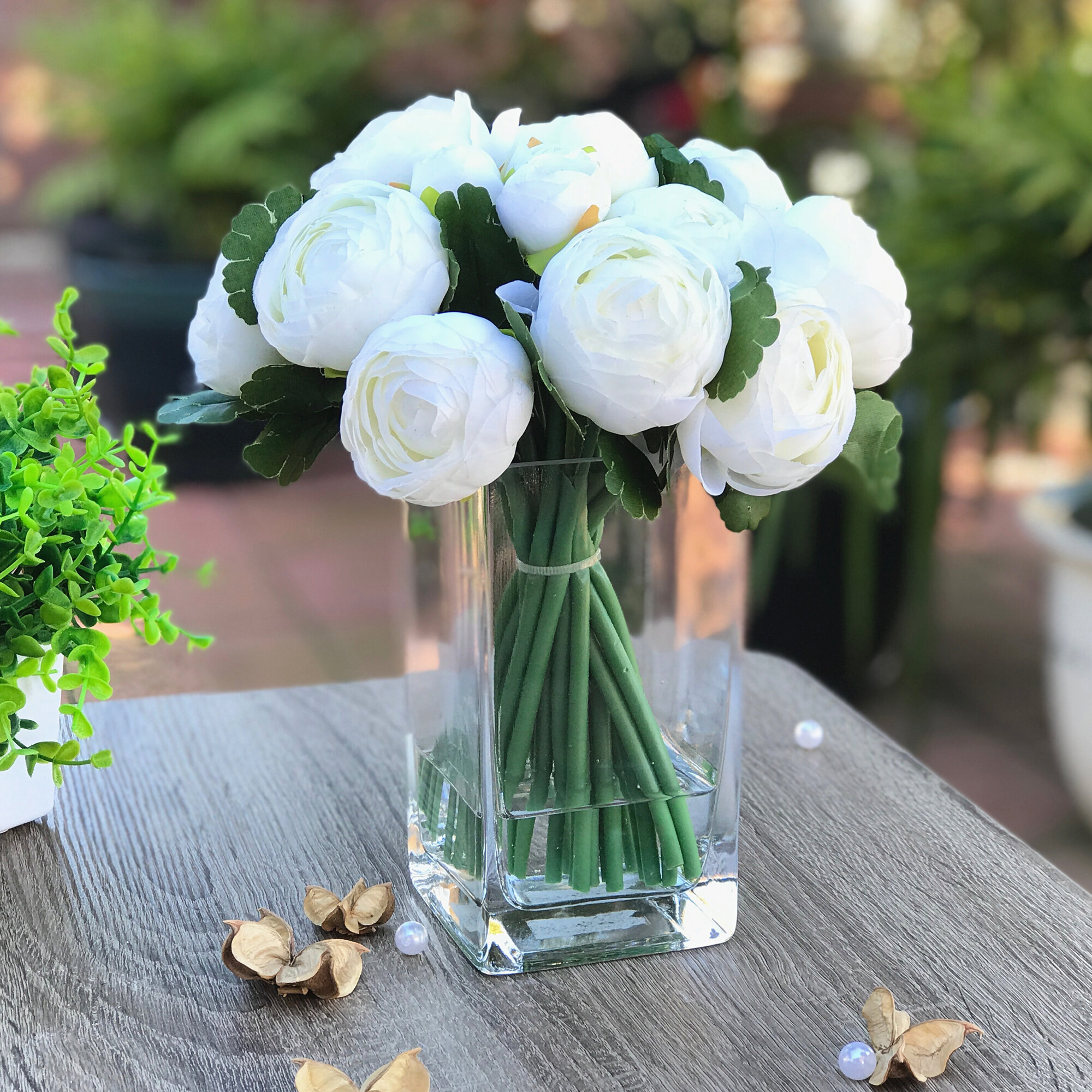 Rosdorf Park Artificial Ranunculus Flower Arrangement In Vase Wayfair