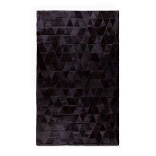 Coupon Bhavin Stitch Hand-Woven Cowhide Mosaik Black Area Rug By17 Stories