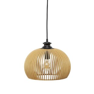 Bay Isle Home Mariano Wood Cage 1-Light Dome Pendant