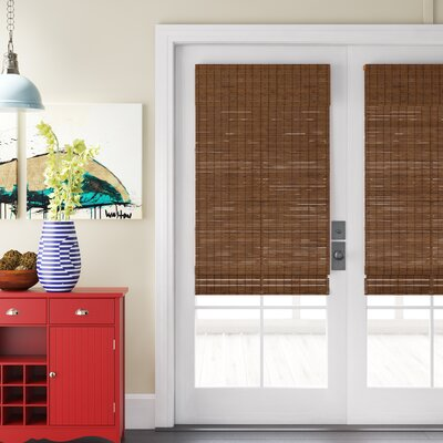"Cordless Semi-Sheer Brown Roman Shade Bay Isle Home Blind Size: 26.5""W x 64""L"