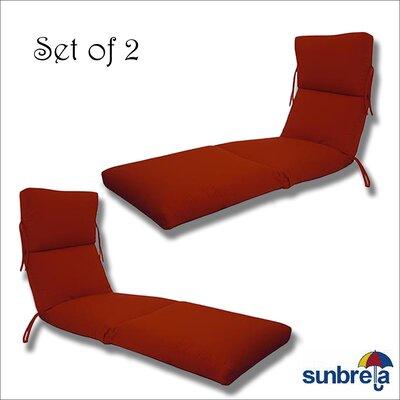 Latitude Run Indoor/Outdoor Sunbrella Chaise Cushion Fabric: Jocky Red