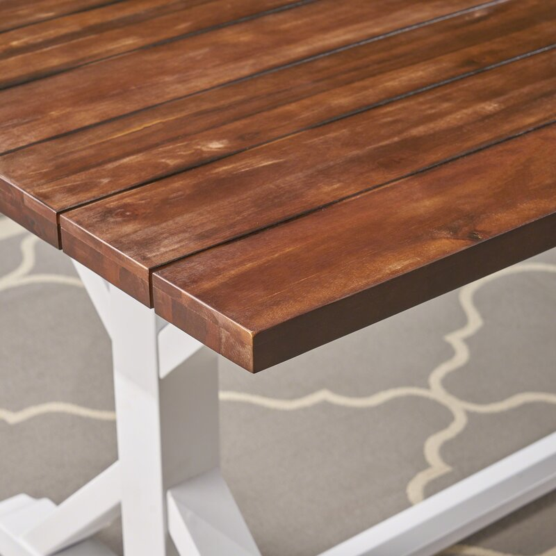 Gracie Oaks Longford Outdoor Rustic Farmhouse Dining Table
