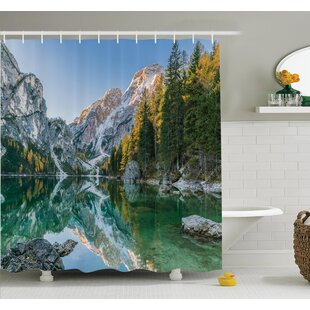Low priced Nature Fall View Lake Mountain Shower Curtain Set By Ambesonne