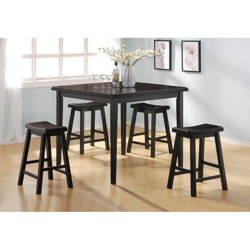 Ordinaire Huffman 5 Piece Counter Height Solid Wood Dining Set