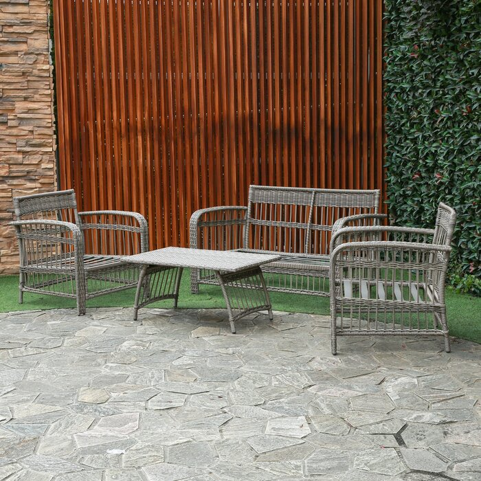 Admirable Rona 4 Piece Rattan Sofa Seating Group With Cushions Evergreenethics Interior Chair Design Evergreenethicsorg