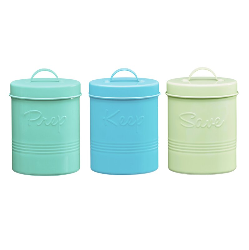 Retro Fifties Metal 3 Piece Kitchen Canister Set