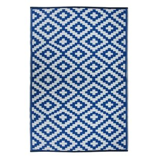 Compare prices Lightweight Reversible Blue/White Indoor/Outdoor Area Rug By Wildon Home ®