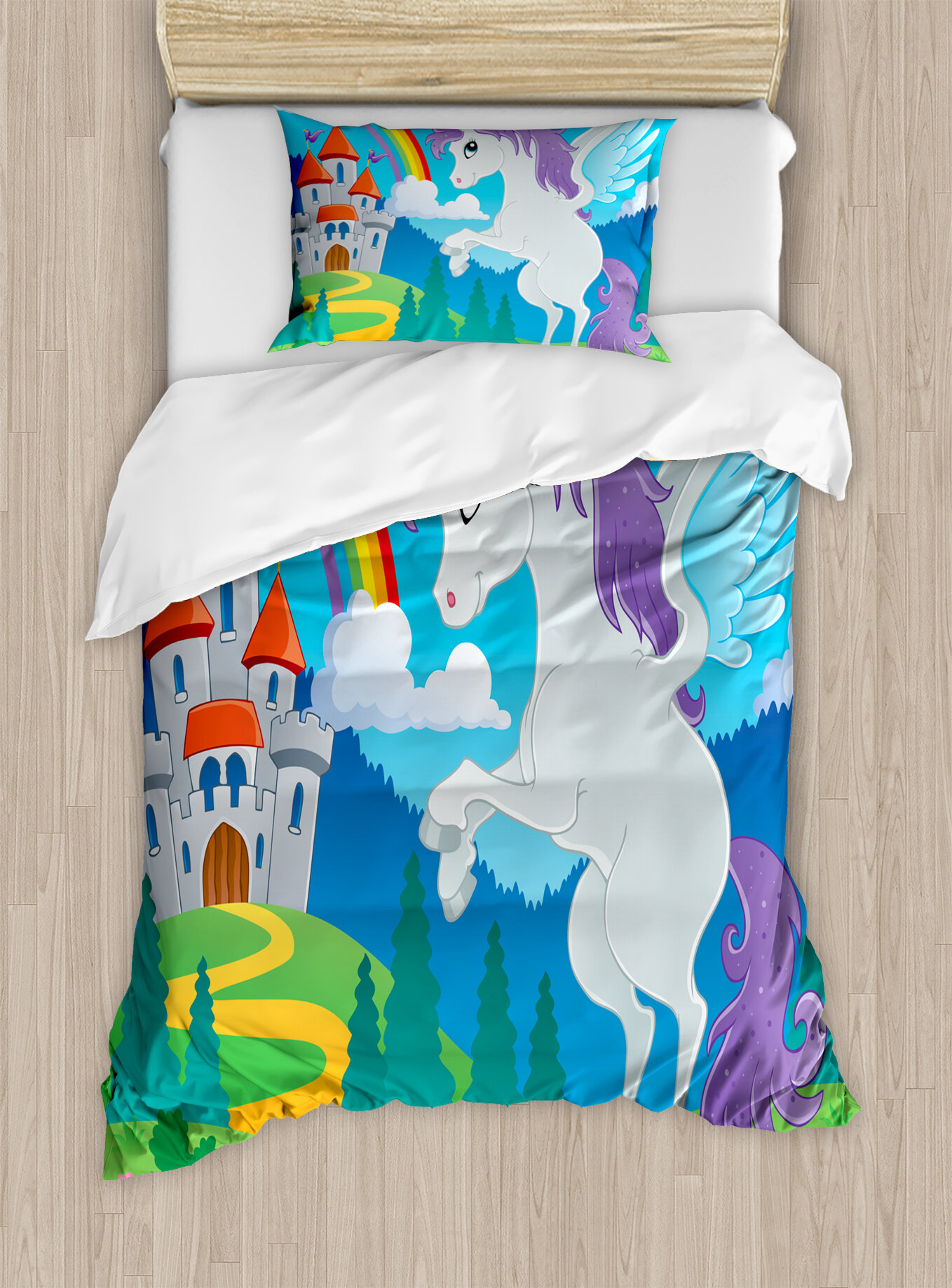 Kids King Size Bedding.Kids Decor King Size Duvet Cover Set Fantasy Myth Unicorn With Rainbow And Medieval Castle Fairy Tale Cartoon Design Decorative 3 Piece Bedding Set