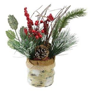 Christmas Winter Foliage Arrangement in Burlap Basket