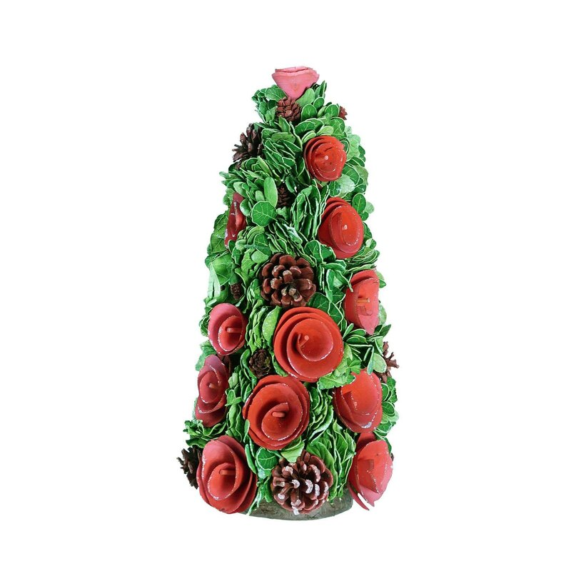 desktop rose flower and pine cones christmas tree decorative plant