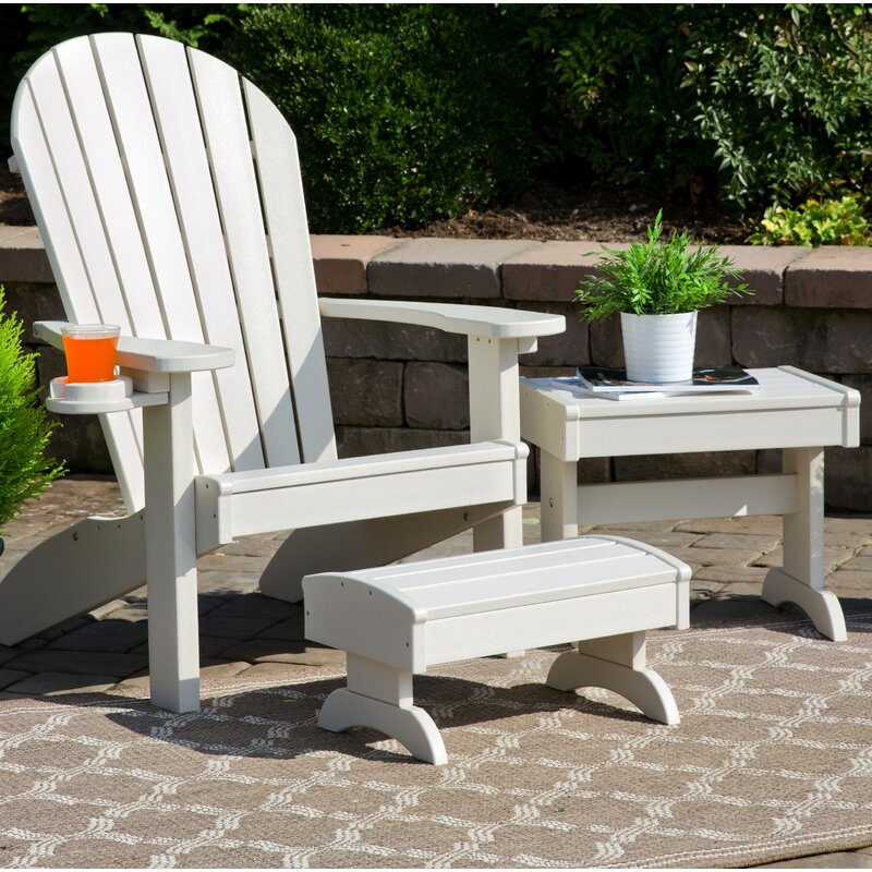 Kells 3 Piece Plastic Adirondack Chair Set With Ottoman And Table