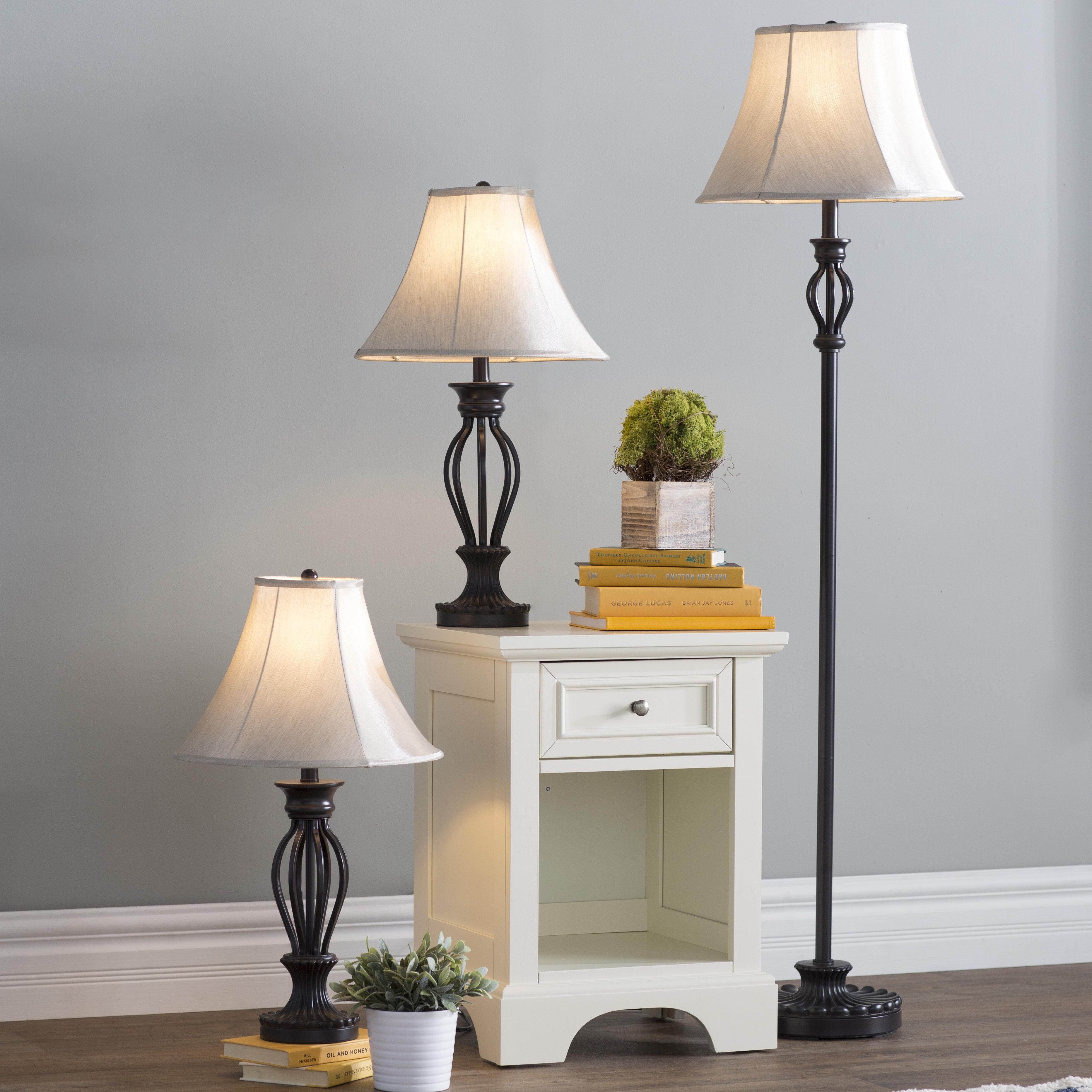 Three Posts Skiatook 3 Piece Table And Floor Lamp Set Reviews