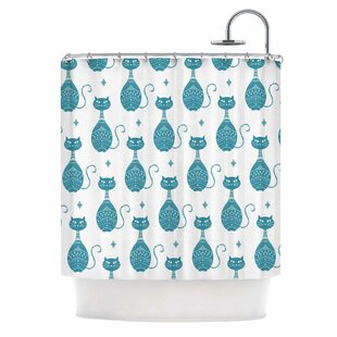 Cristina Bianco Blue Cat Animal Single Shower Curtain