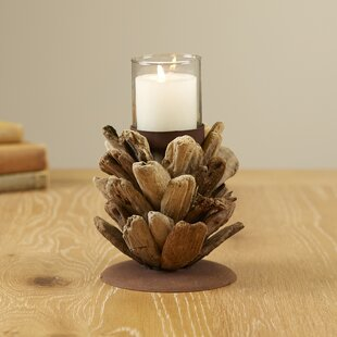Driftwood Pinecone Glass/Wood Votive Holder