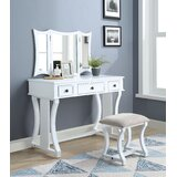 McFetridge Vanity Set with Stool and Mirror by Canora Grey
