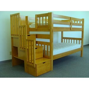 Shamar Stairway Twin Over Twin Bunk Bed with Trundle
