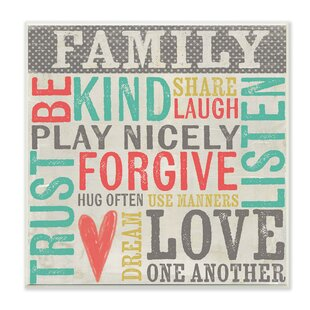 Family Inspirational Typography Wall Plaque