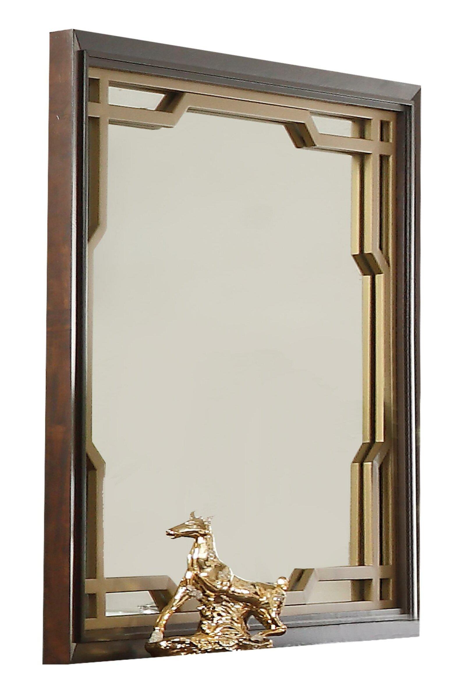 Everly Quinn Holdenville Wooden Glamorous Accent Mirror Wayfair