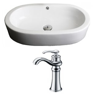 Read Reviews Transition Ceramic Oval Vessel Bathroom Sink with Faucet and Overflow ByAmerican Imaginations