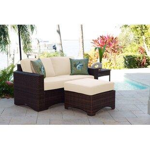 Panama Jack Outdoor Key Biscayne 3 Piece Sunbrella Sofa Set with Cushions