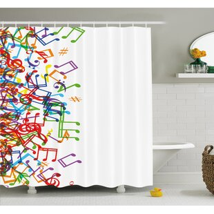 Reviews Music Notes with Clef Rhythm Tempo Melody Harmony Print Shower Curtain Set By East Urban Home