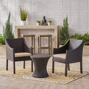 Henthorn 3 Piece Rattan Conversation Set with Cushions by Wrought Studio
