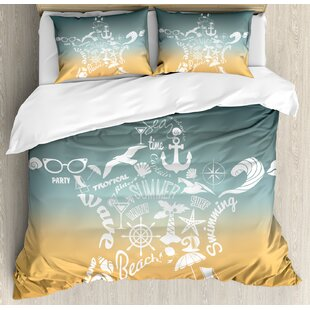 East Urban Home Starfish Summer Time Travel Icons Adventure Journey Retro Style Concept Duvet Set