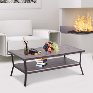 Zev Minimal Two Tier Wooden Coffee Table by Ebern Designs