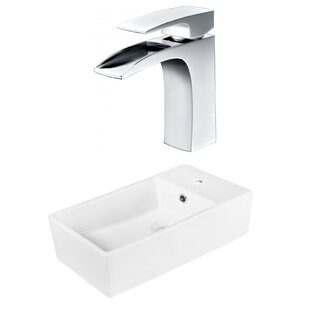Read Reviews Above Counter Ceramic Rectangular Vessel Bathroom Sink with Faucet By Royal Purple Bath Kitchen
