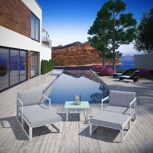 Fehi Outdoor Patio 5 Piece Seating Group with Cushions