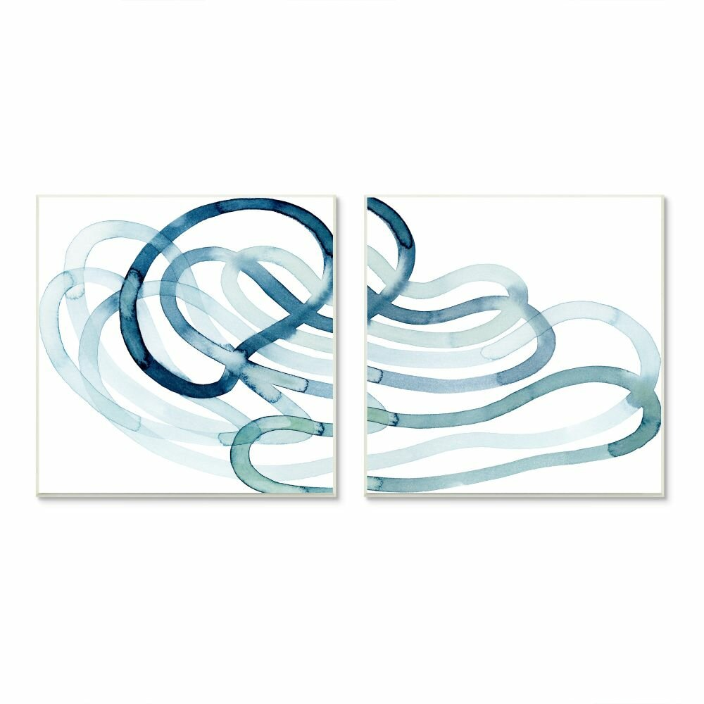 Stupell Industries Lively Organic Abstract Line With Blue Ombre By Grace Popp 2 Piece Graphic Art Print Set On Canvas Wayfair