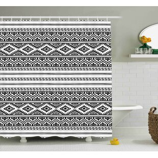 Belina Ethnic Oriental Tribal Moroccan Round Style Lines Dots Geometric Shapes Artwork Image Single Shower Curtain